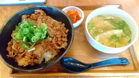 カルビ丼&餃子スープ、なり。