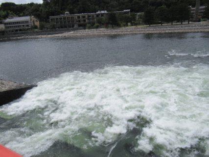 宇治発電所の発電利用水は南郷から、ここ観流橋へ。