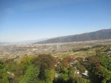 日本三大車窓の一つ、姥捨駅周辺の景観。