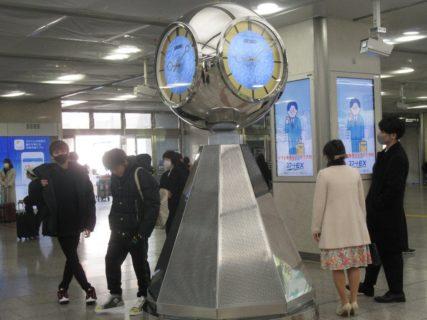 名古屋駅太閤口側にある銀時計、定番の待合せポイント。