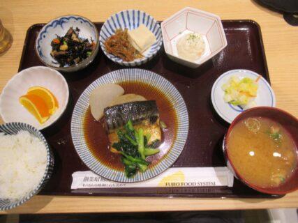鯖煮と大根煮の定食@さんすて岡山のさち福や。