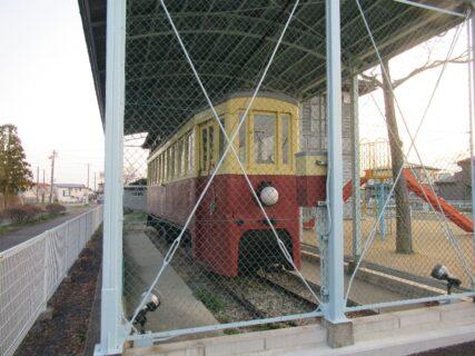 花巻市の材木町公園で保存されている馬面電車。