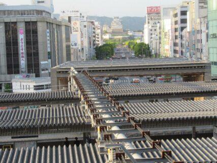 山陽新幹線姫路駅の上りホームから景色を眺めて見る。