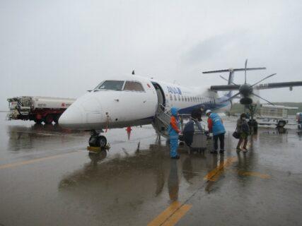 福島空港まで、ボンバルディアDHC8-Q400でのフライト。