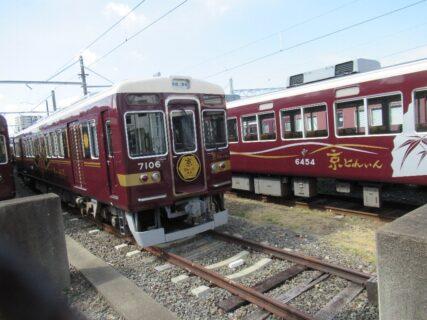 阪急電鉄正雀車庫で待機中の車両たち。