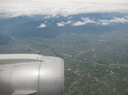 雨の神戸から信州まつもと空港へのフライトです。