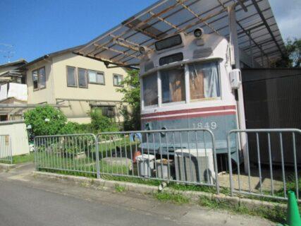 樫原の住宅地にあるちいさな児童公園に京都市電がひっそりと。