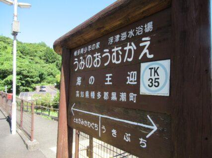 海の王迎駅は、高知県幡多郡黒潮町上川口にある土佐くろしお鉄道の駅。