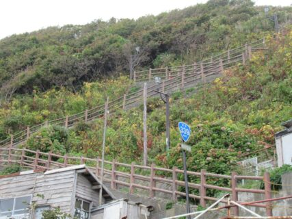 有名な階段国道、国道339号線、通称竜泊ライン。