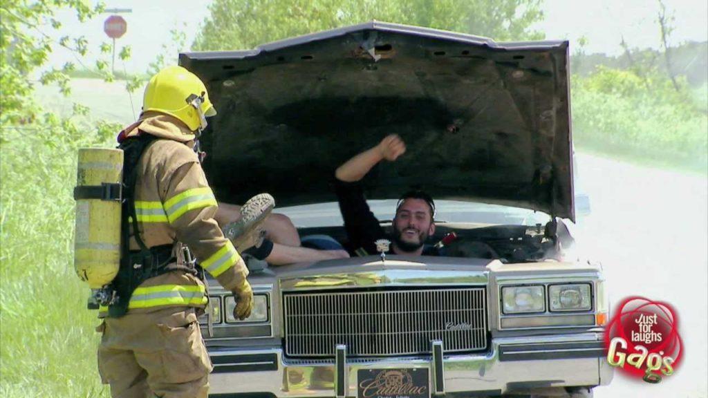 Firefighter Under Car Hood Prank