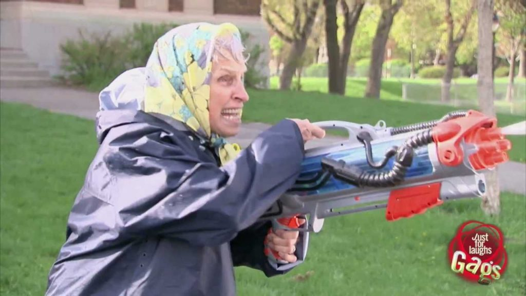 Old Lady Super Soaker Attack