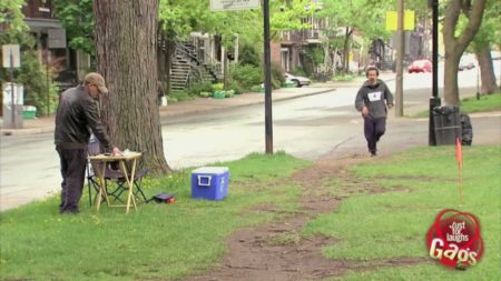 Runners Hit Head On Invisible Beam Prank